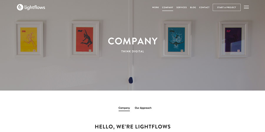 Lightflows company interior webpage design