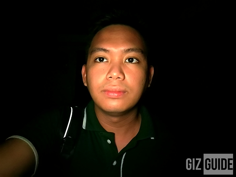 Selfie flash test in a dark room