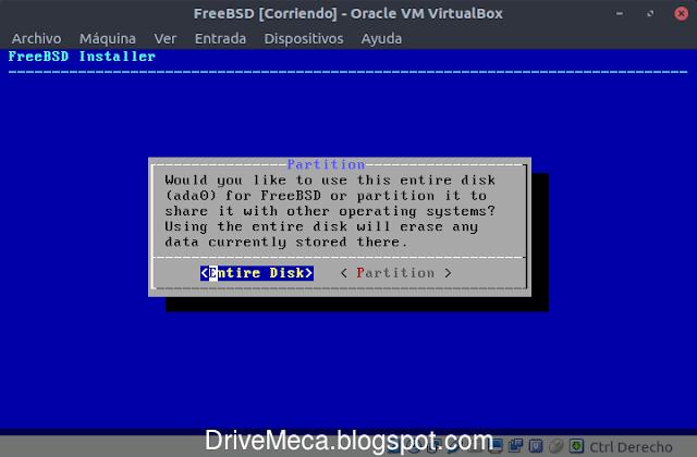 Usaremos todo el disco para FreeBSD