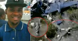 African-American pilot, Mark Ukaere and plane crash site wreckage