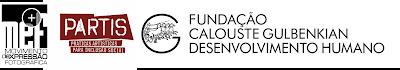 Logotipos do Movimento Expressão Fotográfica, programa PARTIS e Fundação Calouste Gulbenkian Desenvolvimento Humano