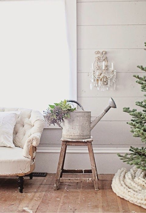 Swedish Farmhouse Christmas Decorating Interior Design white galvanized can