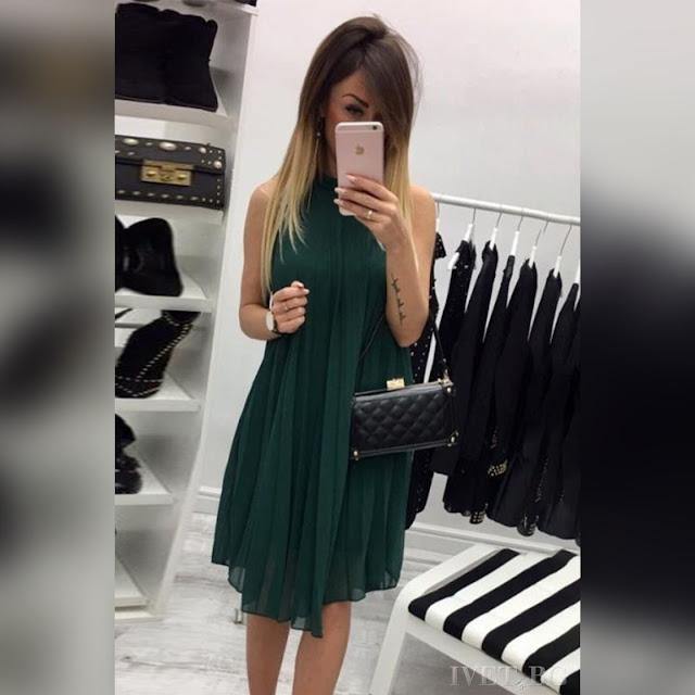 Αμάνικο μίντι πετρόλ φόρεμα BRITANY PETROL