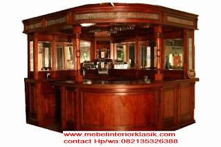 furniture klasik mewah,meja bar jati ukiran jepara warna cokelat
