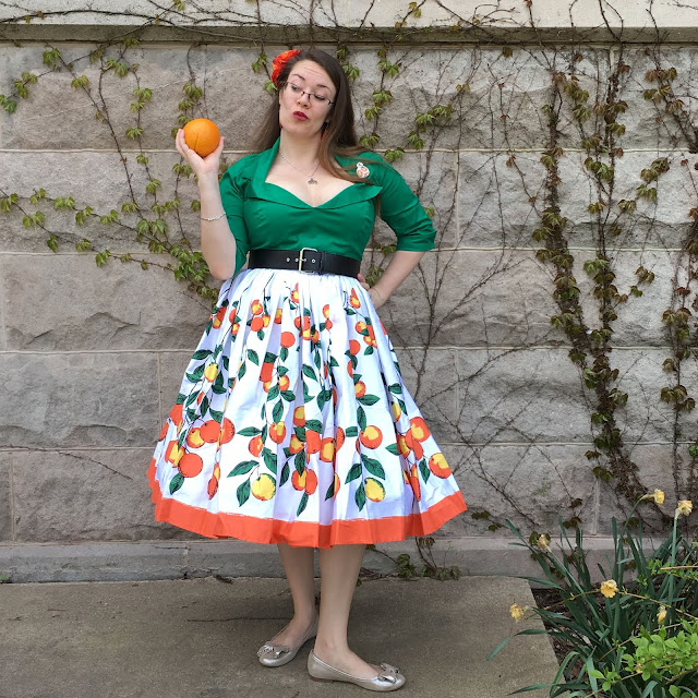 pinup girl clothing orange border Jenny skirt