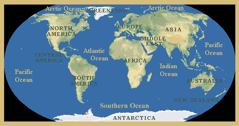 Map oceans of the world world ocean map continents and oceans labeledp gumiabroncs Choice Image