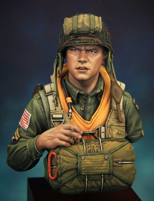 US WWII paratrooper of 101th divission Currahee. 1\10 bust boxart for Young miniatures.