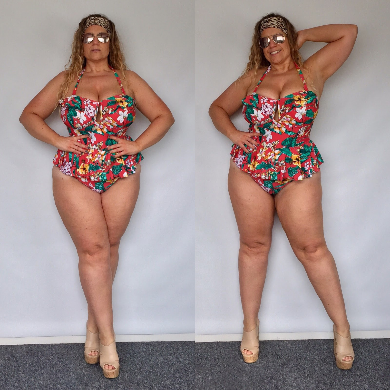 Forever 21+ Red Floral One-Piece Swimsuit