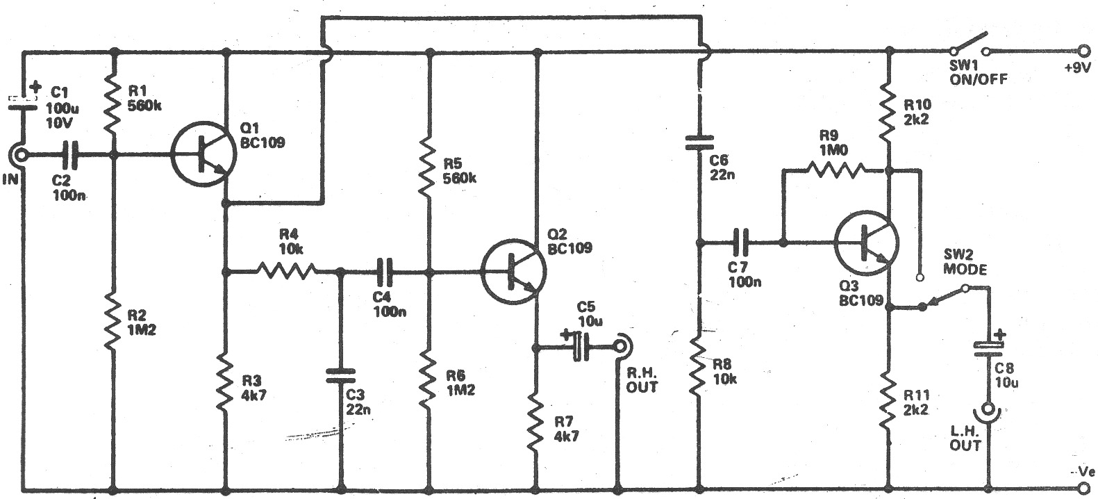 guitar schematic stereo out