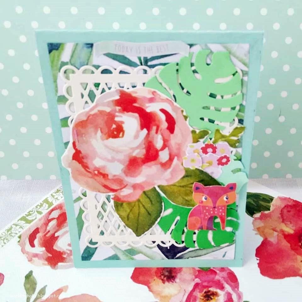 kartka handmade jesienna z liskiem, kartka z liskiem, kartka handmade