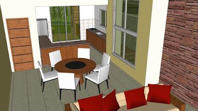 Perspectiva interna apresenta parta de sala de estar, sala de jantar e cozinha, com vista para a varanda e o quintal.