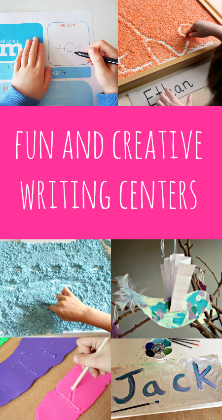 Creative writing centers help kids work on written work with hands-on handwriting activities.