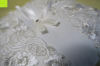 oben: Hochzeit Ringkissen mit Satin Bogen 21cm* 21cm