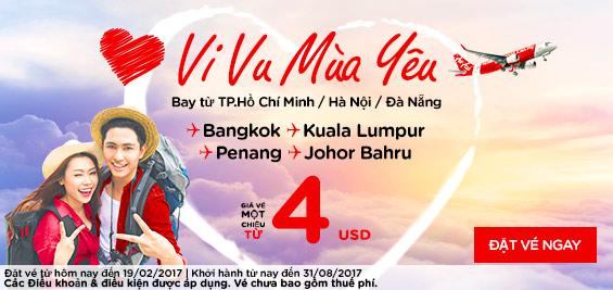 đặt vé Air Asia vi vu mùa yêu