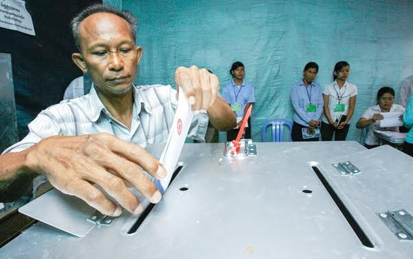 A man casts his vote at a polling station in Phnom Penh during the last elections. KT/Chor Sukunthea