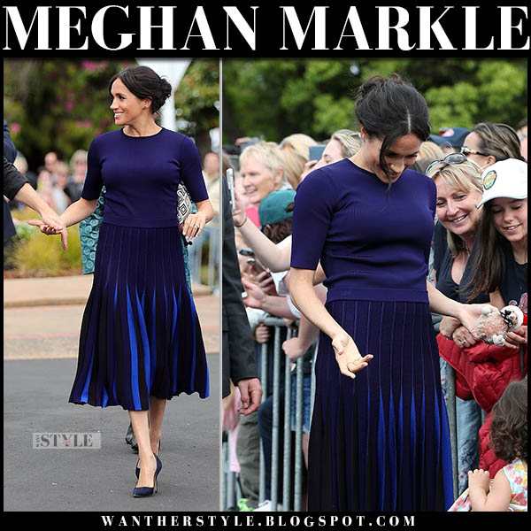Meghan Markle in navy short sleeve top and navy blue pleated midi skirt givenchy new zealand royal tour style october 31