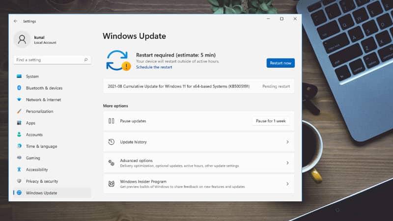 Windows 11 Build 22000.168 (KB5005191) comes with new widget