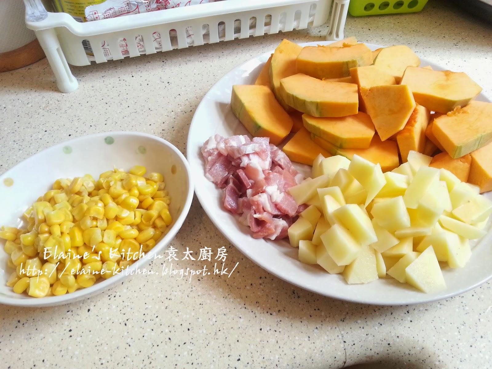 袁太廚房 - 平凡生活煮意: 煙肉粟米天使麵拌南瓜湯