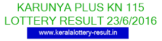 Kerala Karunya Plus KN 115 lottery result, Kerala Lottery result 23/6/2016, Karunya Plus Lottery result 23.06.2016, Keralalotteries karunya plus 115 results today
