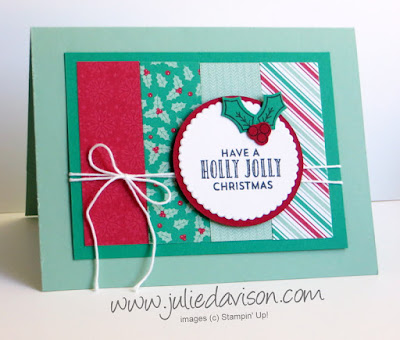 Stampin' Up! Stitched with Cheer Holly Jolly Christmas Card #stampinup 2016 Holiday Catalog