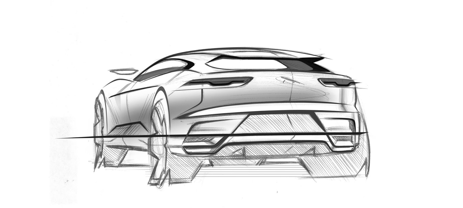 Jaguar I-Pace pencil sketch - rear view