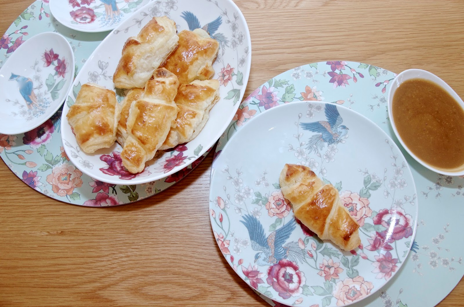 White Chocolate Croissants on floral plates and placemats
