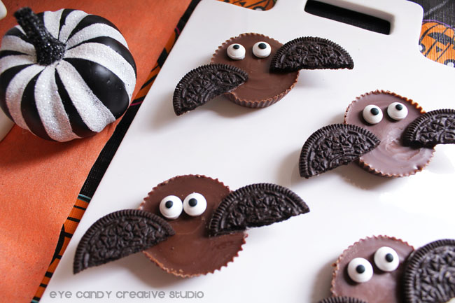 black & white stripe pumpkin, Reese's bats, halloween party ideas