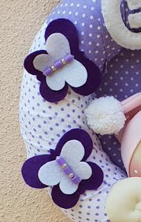 Farfalline pannolenci fiocco nascita lilla pois