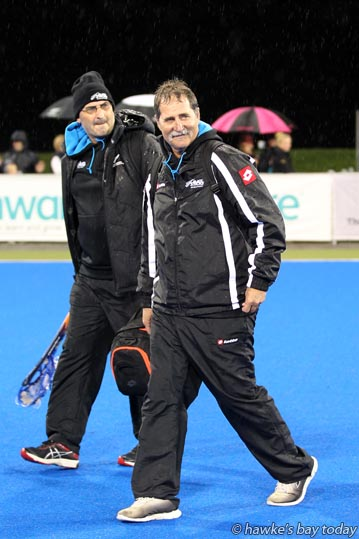 Right: Mark Hager, coach of the New Zealand Black Sticks who beat Japan 3-2 in the final of the Festival of Hockey, at the Hawke's Bay Regional Sports Park, Hastings. photograph
