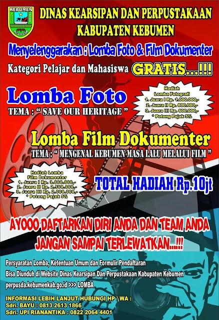 Perpusda Kebumen Adakan Lomba Foto dan Video, Total Hadiah Sepuluh Juta Rupiah