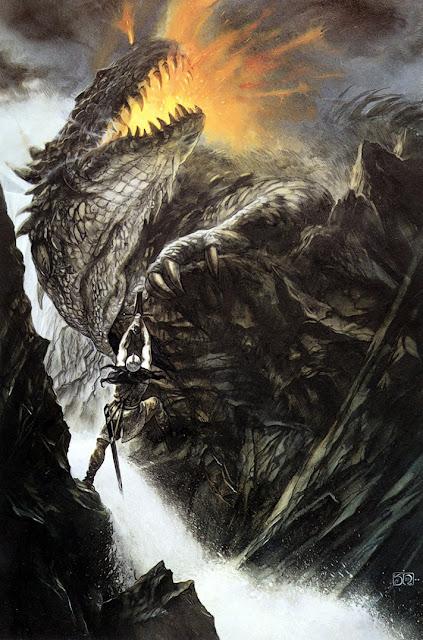 Η σφαγή του δράκου Γκλάουρουνγκ από τον Τούριν Τουράμπαρ - εικονογράφηση του John Howe για το Σιλμαρίλλιον του Τόλκιν