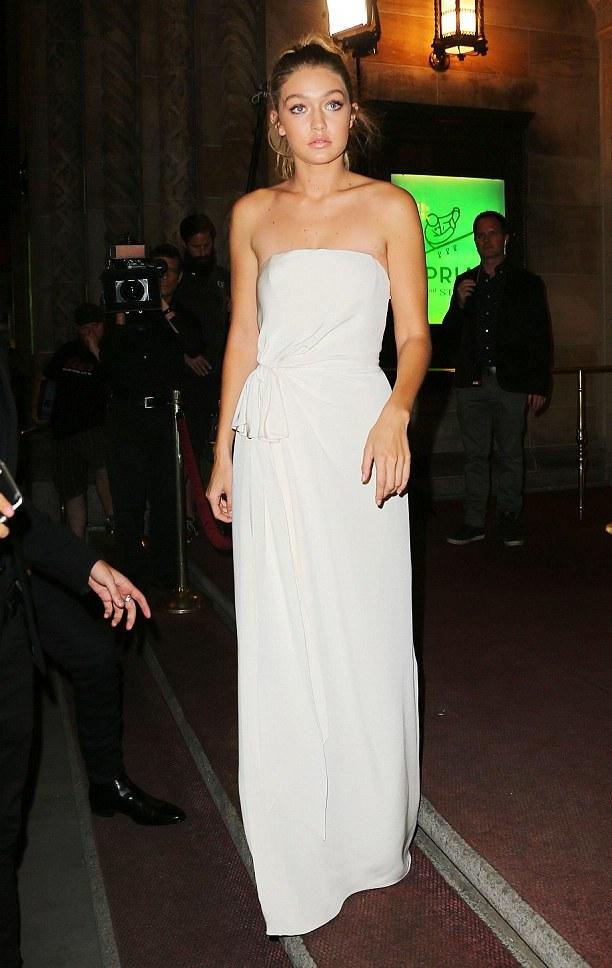Gigi hadid at Lyme Disease Gala 2015, Gigi Hadid sports nude lips, hollywood fashion, celebrity inspirations, Ggig hadid nude lips, gigi hadid white dress, Indian fashion blogger, Chamber of Beauty