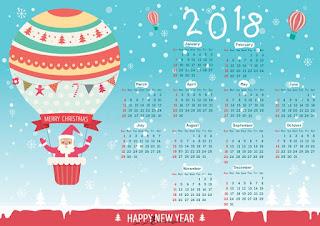 التقويم الميلادى بابا نويل 2018