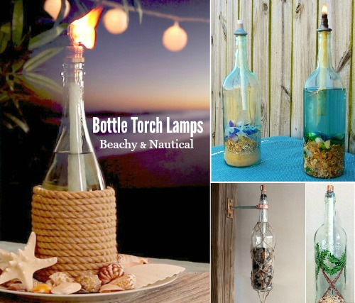 Bottle Tiki Torch Oil Lamps with a Beach and Nautical Theme