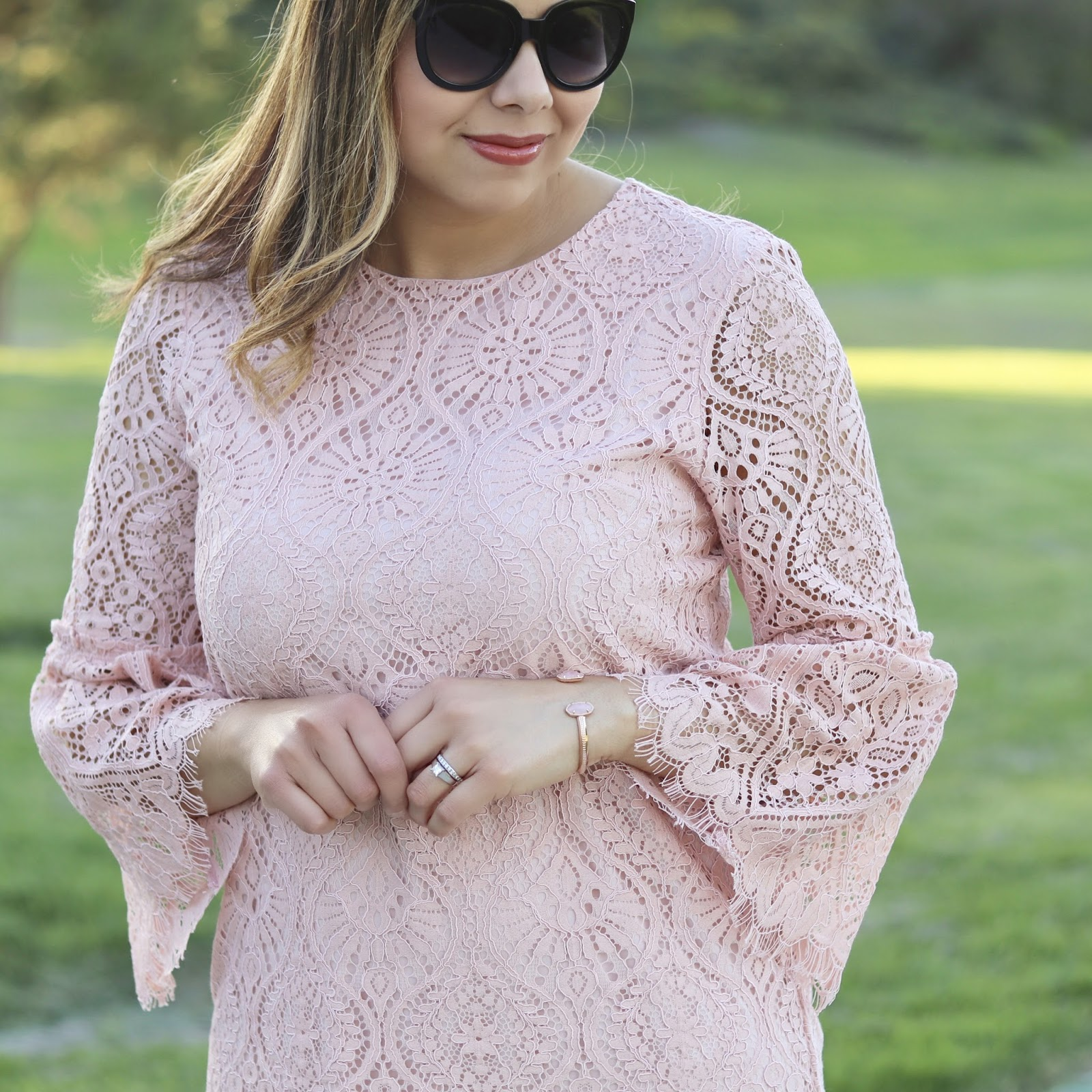 Blush Delicate Lace Outfit, JCPenney pink lace dress, worthington pink lace dress