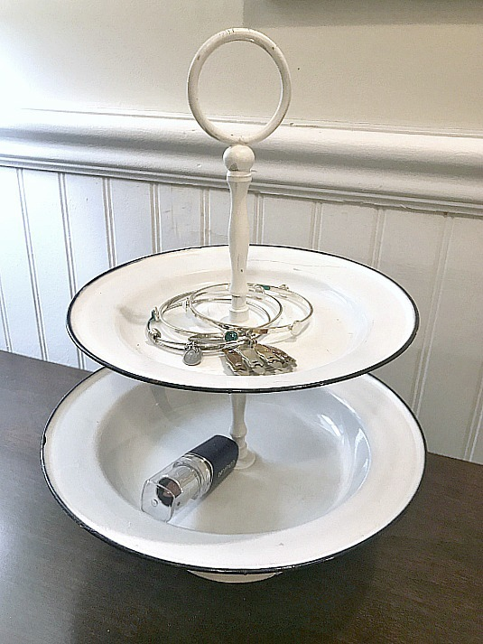 DIY White Enamelware Tiered Tray. Homeroad.net