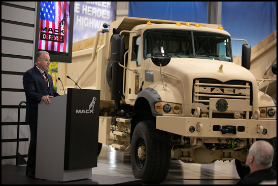 Mack Defense President David Hartzell officially presented the first five Mack(r) Granite-based M917A3 heavy dump trucks to the U.S. Army during a ceremony at the Mack Customer Center.