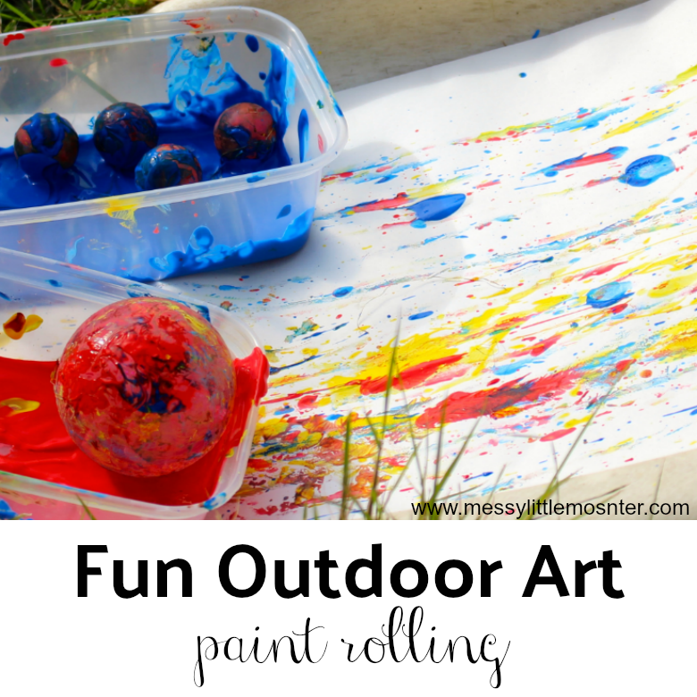 slide painting -  Easy Outdoor Art Ideas for Kids - large scale, messy, nature inspired art activities for toddlers, preschoolers and school aged kids to do outside.