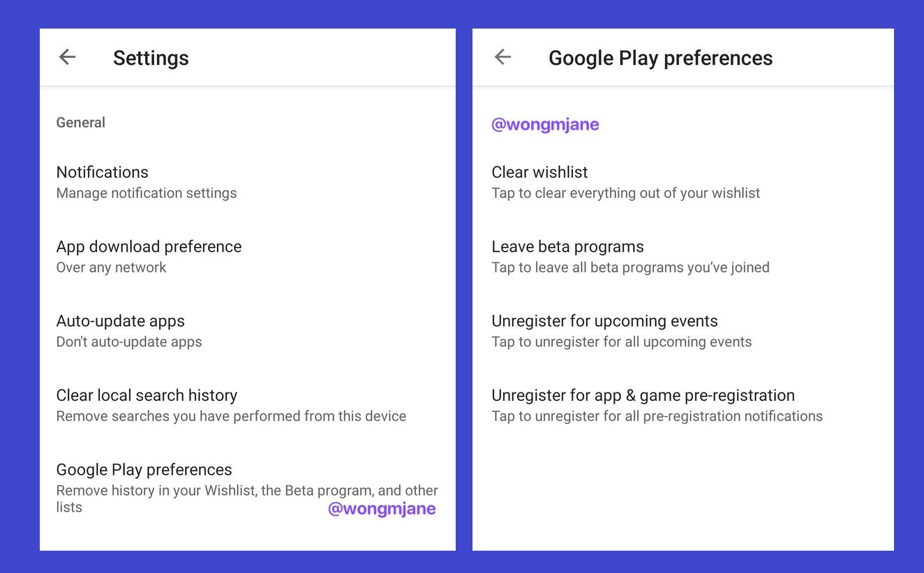 "Google Play Store is testing ""Google Play preferences"" page, providing options to remove some user data"
