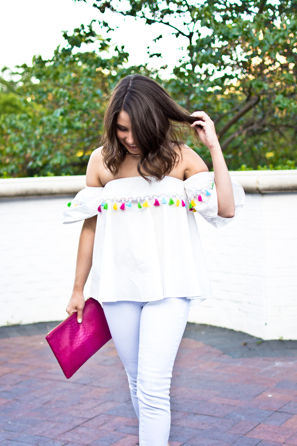 White off the shoulder womens top with tassels