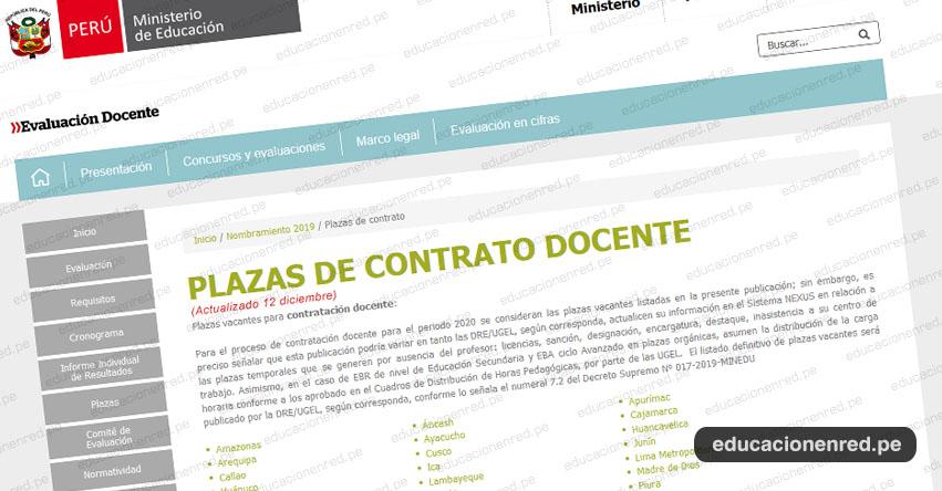 MINEDU: Plazas Vacantes para Contratación Docente 2020 (ACTUALIZADO 12 DICIEMBRE) www.minedu.gob.pe
