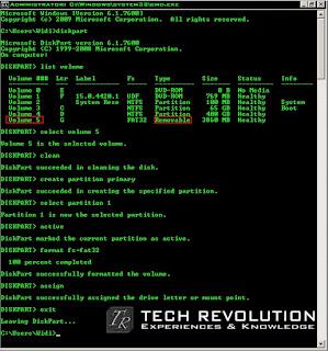 Langkah - langkah Format Flashdisk Melalui Command Promt