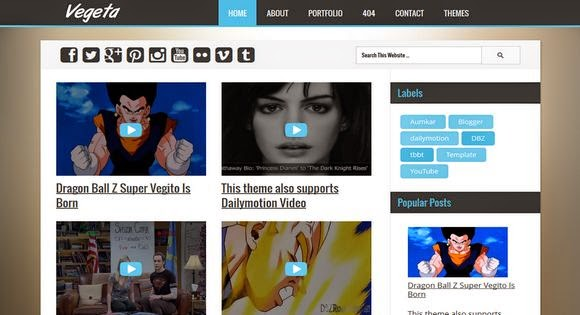Vegeta YouTube Dailymotion Videos Blogger Template