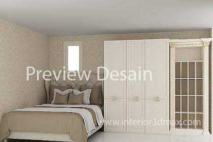Jasa desain online interior kamar tidur bedroom semi klasik modern