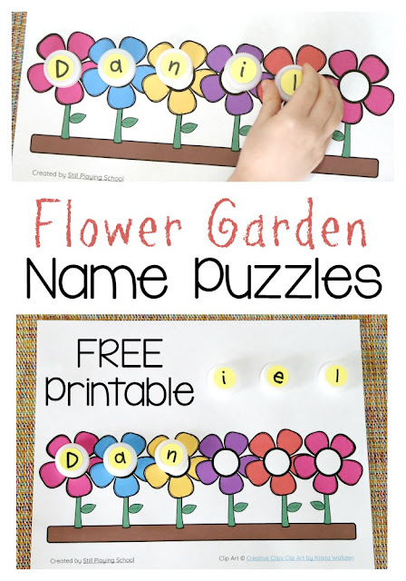 Print out this free flower garden name puzzle mat for kids for spring! Preschoolers will love to spell their name on the flowers again and again!