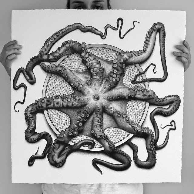22-Octopus-C-J-Hendry-Hyper-Realistic-Drawings-of-Food-www-designstack-co