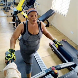 Veteran Actress, Ngozi Nwosu Hits The Gym (Photos)