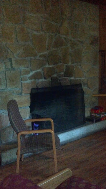 Fireplace at the cabin