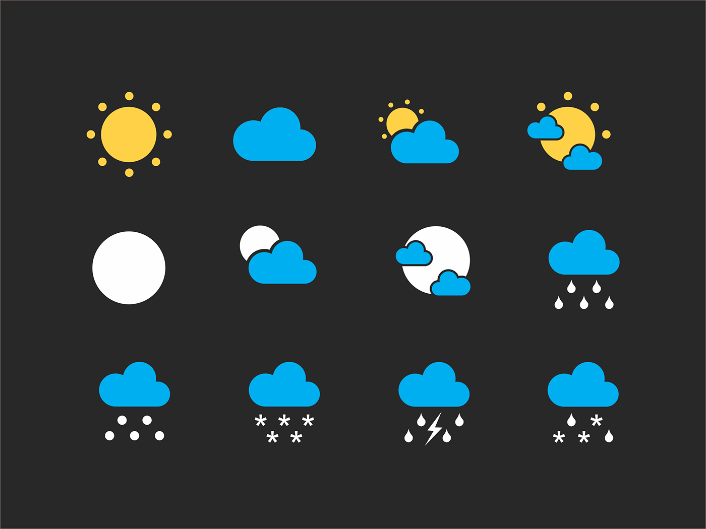 Weather Icons For All Seasons Free CDR File (Corel Draw)