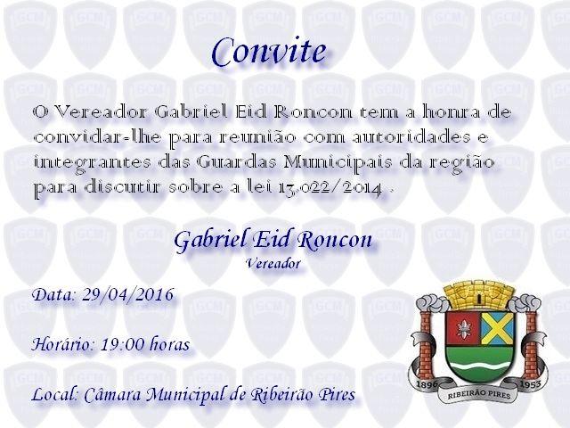CONVITE - Câmara Municipal de Ribeirão Pires irá discutir a lei 13.022
